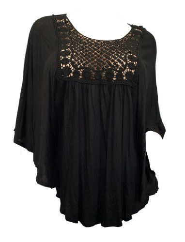 Plus Size Crochet Poncho Top Black...$33...        rayon      Available in Jr plus size 1XL, 2XL, 3XL.      Plus size poncho top features crochet accented front and back.      Scoop neck design.      Polyester blend.      Made in the USA     eVogues Apparel, http://www.amazon.com/dp/B005UVTQRC/ref=cm_sw_r_pi_dp_LoThrb1CQ5XEV