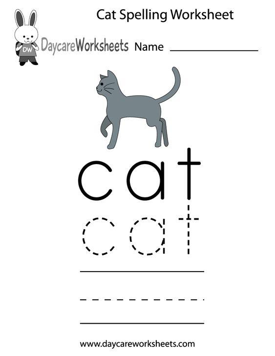Preschool Cat Spelling Worksheet Printable | Activities for Rya ...