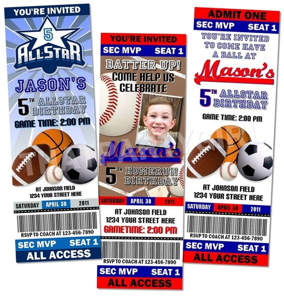 Sports Birthday Party Ticket Style Invitations Favors MVP Digital Delivery - U Print