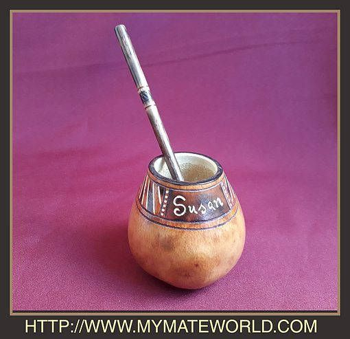Your PERSONAL name CARVED ON a Customized Mate Gourd Includes Bombilla