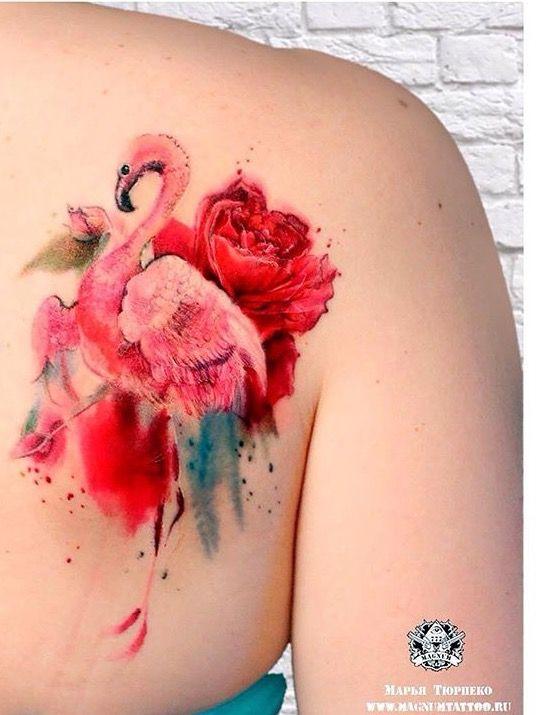 Marya Tyurpeko watercolor flamingo tattoo
