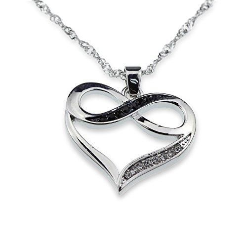 Silver Tone Infinity Crystal Accent Heart Black White Pendant Necklace Girlfriend Silver Necklace Designs Necklace For Girlfriend Cute Necklaces For Girlfriend