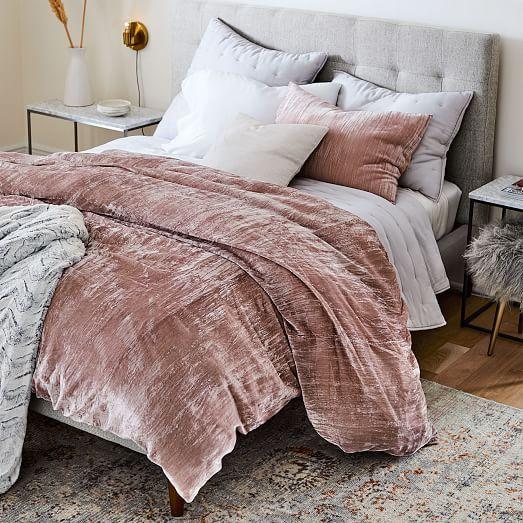 Crinkle Velvet Duvet Cover Shams Velvet Duvet Velvet Bed Duvet Covers