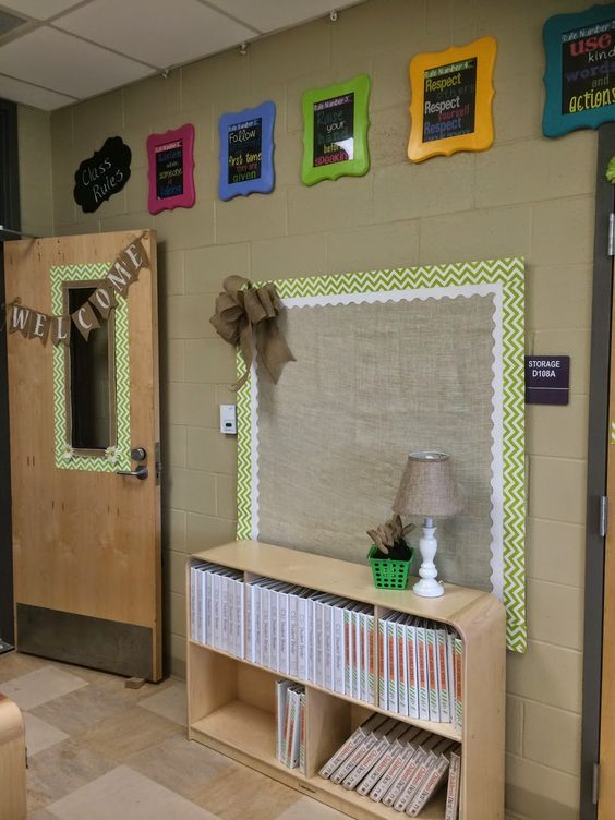 Room to Bloom in 3rd Grade, Burlap/chevron bulletin board with colorful class rules above.  Loved http://www.kindercrazeblog.com/ idea for the picture frames.  Purchased at Michael, painted and then I made subway art rules for the inside.