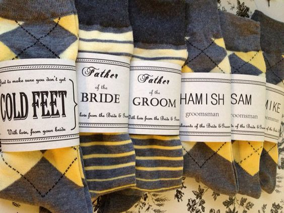 Solid Grey w/ Yellow toe Groomsmen Socks & by CUTEnCRAFTYshop, $6.00: