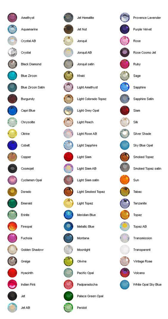 Sample of rhinestones from the Swarovski rhinestone colour chart - sample diamond chart