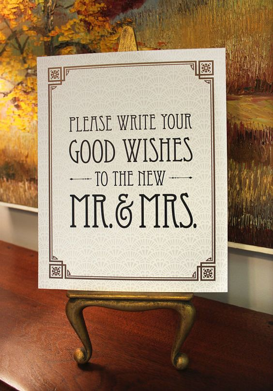 """Please Write Your Good Wishes - Printable Wedding Guest Book Sign - 8"""" x 10"""" - Digital File - DIY - Art Deco-Roaring 20's-Great Gatsby Sign"""