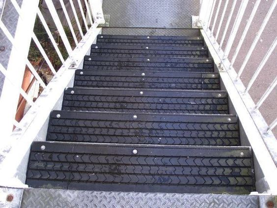 No more slippery stairs! Just cover them with old rubber: https://www.facebook.com/photo.php?fbid=10151702626606561&set=a.10150354611156561.351475.253021991560&type=1&relevant_count=1&ref=nf