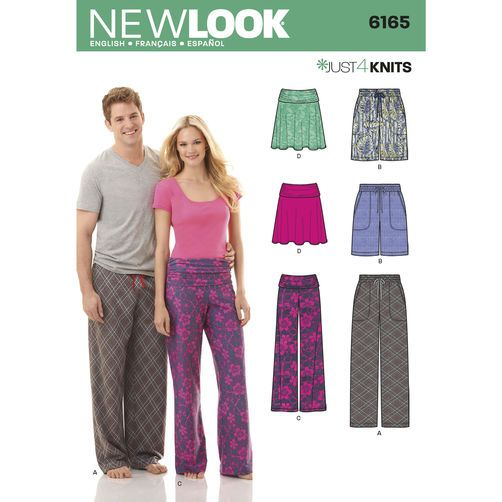 New Look Pattern 6165 Misses' and Men's Knit Separates