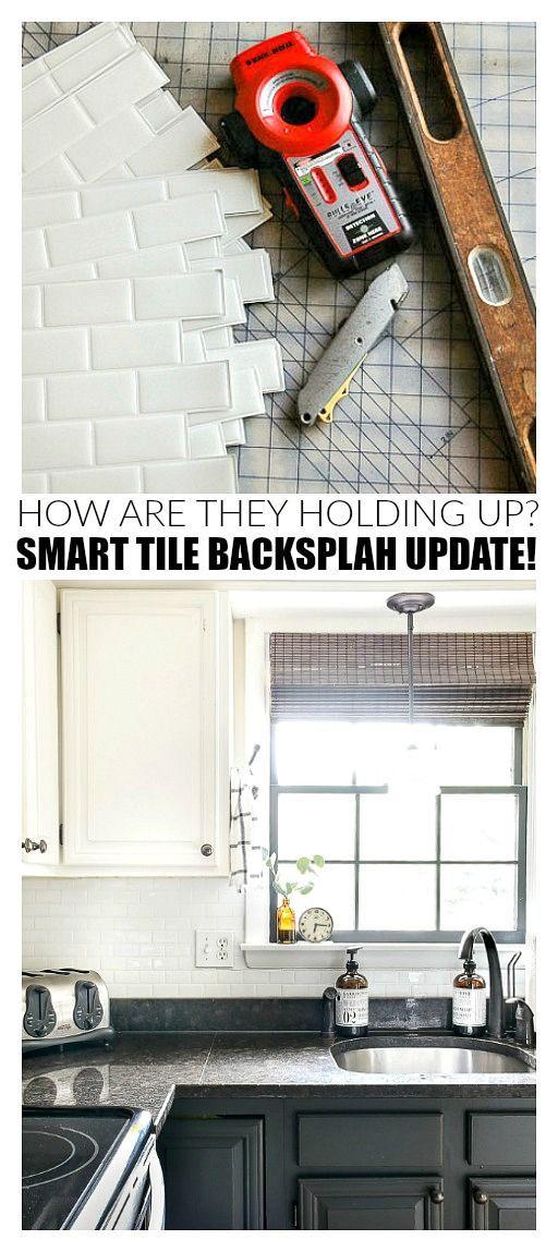 How Are They Holding Up Smart Tile Backsplash Review Smart Tiles Backsplash Diy Kitchen Backsplash Smart Tiles