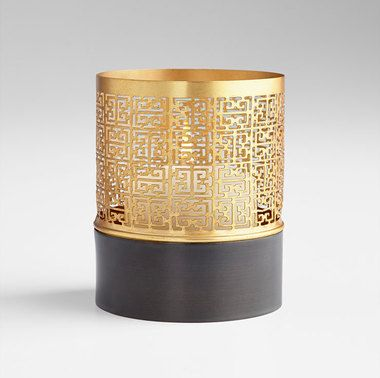 Candle Holders | Grecian Lace Gold & Ebony Candle Holder | Small