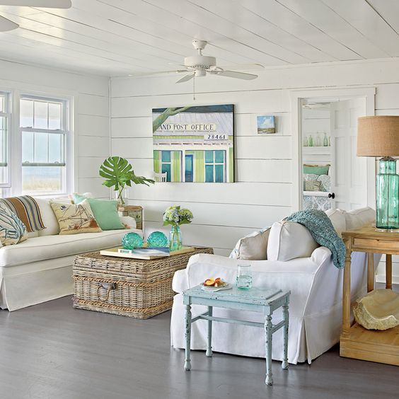 Use Watery Hues - 40 Beautiful Beachy Living Rooms - Coastal Living