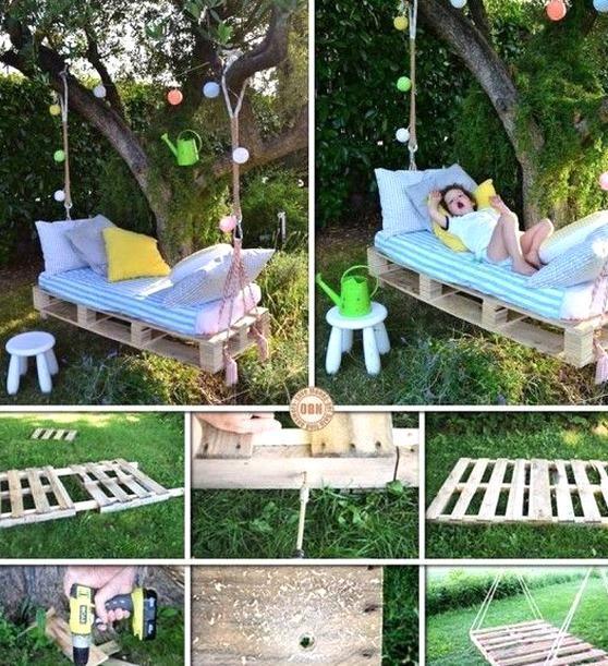 Diy Pallet Wood Swing Bed Swinging Garden Pallet Recycling Gart Bed Diy Garden Gart Pallet Recyc Diy Garden Furniture Pallet Swing Beds Bed Swing