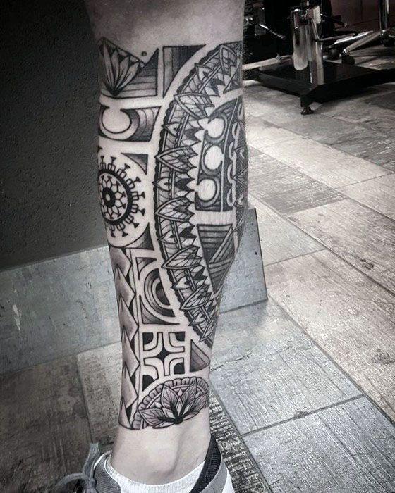 Decorative Polynesian Tribal Leg Tattoos For Men Leg Tattoos Tattoo Designs Men Polynesian Leg Tattoo