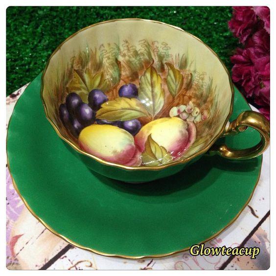 """(@glowteacup) on Instagram: """"Green Aynsley fruit tea cup and saucer. #teacup #teacupcollector #teacupandsaucer…"""""""