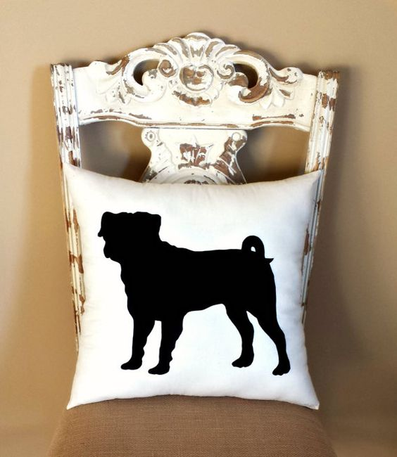 Pug Dog Silhouette Throw Pillow/ by LittleLauraLouCrafts on Etsy