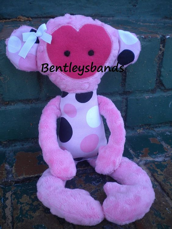 Handmade Monkey Softie Plush childs Toy Doll by Bentleysbands, $20.00