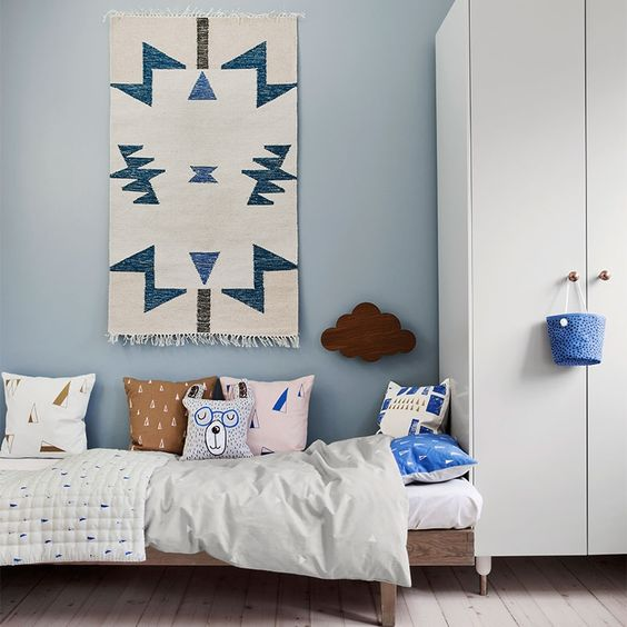 Teppich Kelim Blue Triangles 80 x 140 cm von Ferm Living