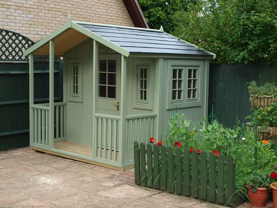a bespoke potting shed with veranda