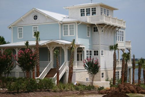 Barrier island beach house by Tongue & Groove Construction.
