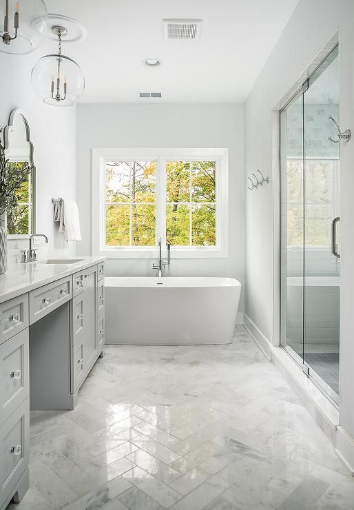Polished Marble Herringbone Bath Floor Tiles Bringing Dimension And Sheen To A White And Light Gra Herringbone Marble Floor Light Grey Bathrooms Grey Bathrooms