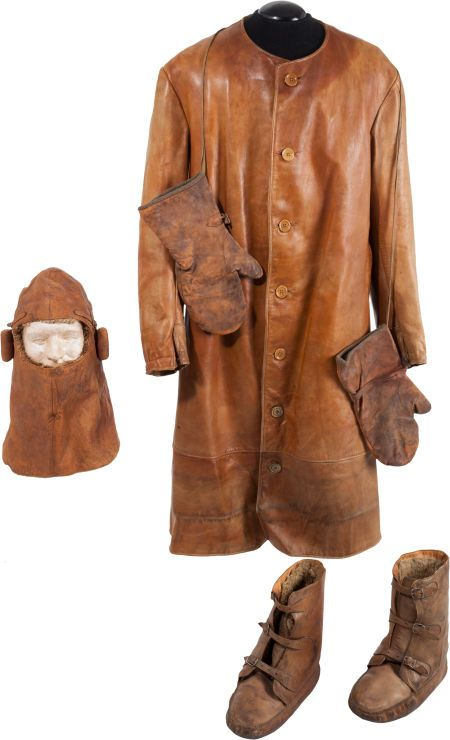 WWI Allied Leather Flying Jacket Pants Mittens Boots and Cowl