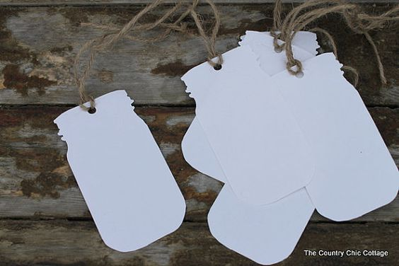 Medium Mason Jar Tags set of 6 by CountryChicCottage on Etsy, $5.00