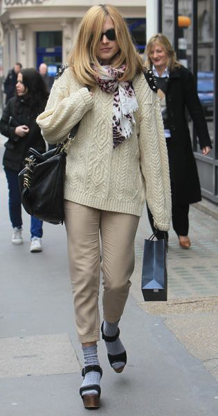 Fearne Cotton, socks and sandals