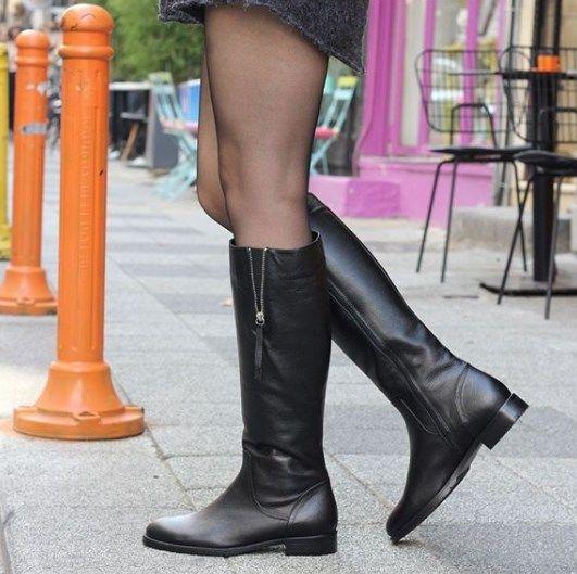 Kadin Cizme Hakiki Deri Siyah Fermuar Detayli Cizmeler Bayan Ayakkabi Bot