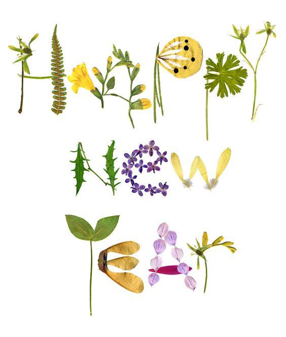 Happy New Year Flower Print Note Card/Herbarium par thevysherbarium