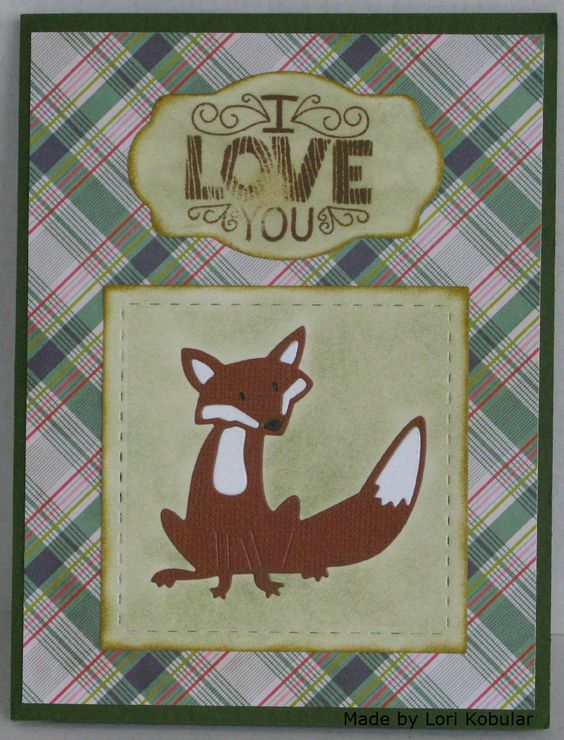 Made with Lil' Inker Designs Stitched Squares and Frantic Stampers Adorable Fox dies