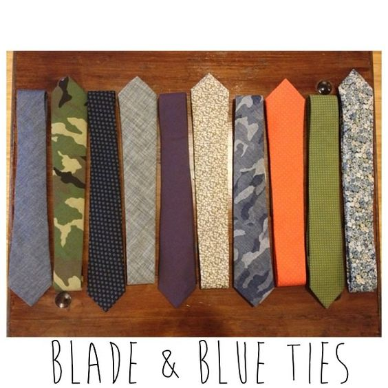 "New @bladeandblue ties! Camo, chambray, floral, pops of color & classic dark tones- we have it all. Get yours at ""To School for Cool"" this Saturday, 5-8pm #bladeandblue #menwithstyle #suitandtie #menswear"