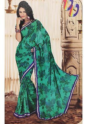 Latest Fashion Saree Elegant Indian Green Georgette Sari Indian Ethnic Sarees | eBay