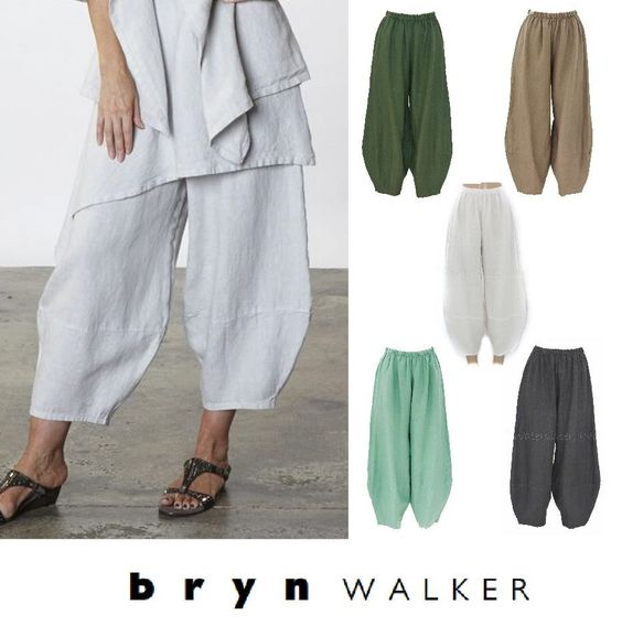 """BRYN WALKER Light Linen Oliver Pant. BRYN WALKER Light Linen A-Line LONG TRAPEZE TANK. """"BRYN WALKER, 100% Linen,Made in USA, Machine Wash, Tumble Dry Low."""". This season's favorite Bryn Walker Oliver Pant ~. 
