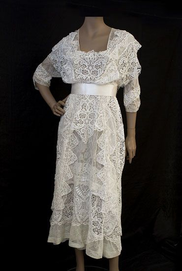 lace tea dress worn for wedding dress from the vintage textile archives 1910s the. Black Bedroom Furniture Sets. Home Design Ideas