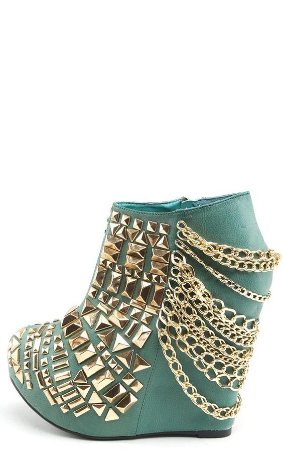 $110.00  Rivoli Studded Chain Wedge Booties TEAL