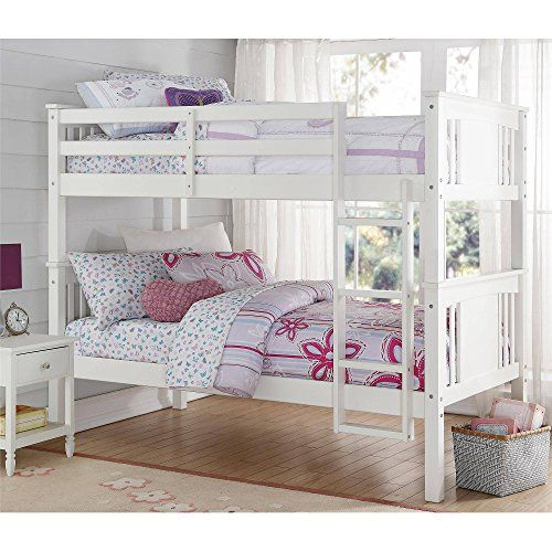 Twin Size Bunk Bed Kid S Room Furniture White Traditional Design Bedding Sturdy Wood Construction 4 Step La White Bunk Beds Twin Bunk Beds Wood Bunk Beds