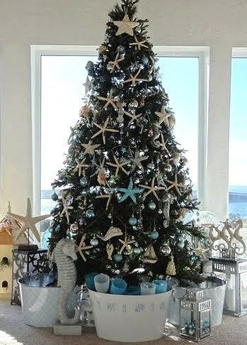 fill tubs with gifts . coastal tree: