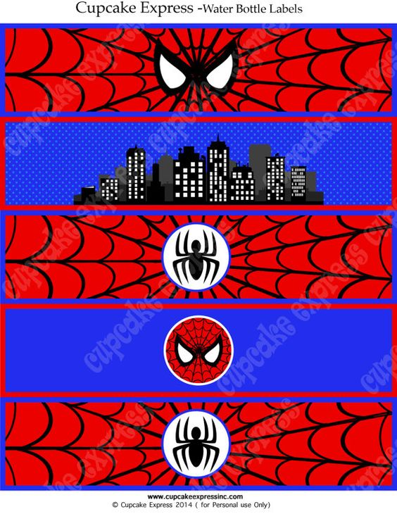 Spiderman Instant Printable Water Bottle Labels Birthday