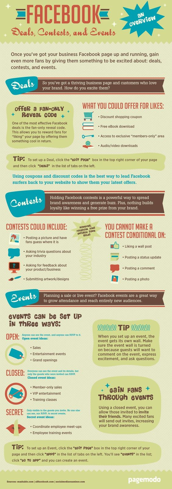 Facebook Deals, Contests, and Events Tips [Infographic] - Infographics King