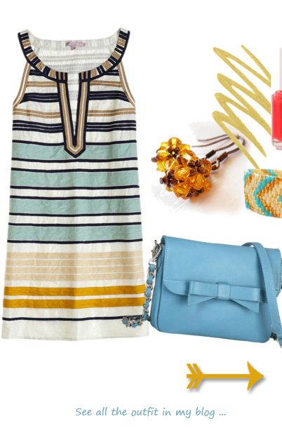 Yellow and Blue dress outfit for spring or summer ! More in the blog !