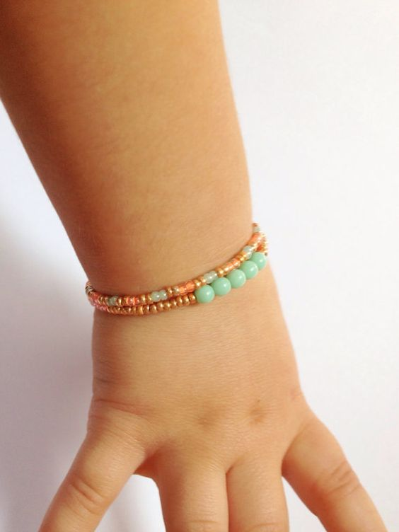 Mint Gold and Coral small center stone stack by JuneandPenny