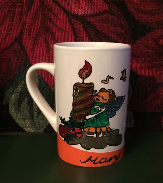 ANGEL, CANDLE  and GIFTS Hand-painted Coffee Mug