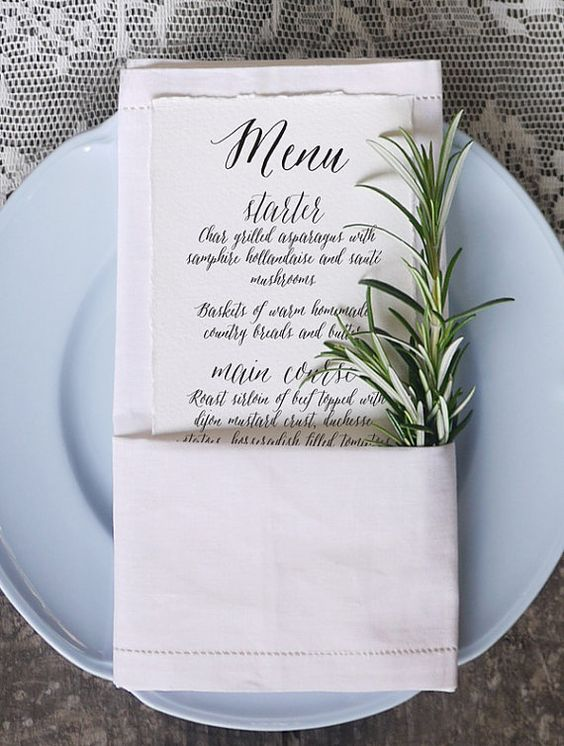 This listing is for a wedding menu card in calligraphy style in the format of a printable digital file. WHAT YOU GET One Letter sized PDF file