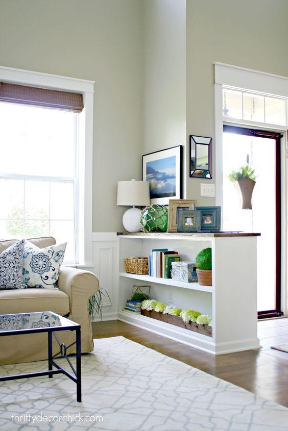 Small Living Room Off Foyer : Finished half wall bookcase walls bookcases and