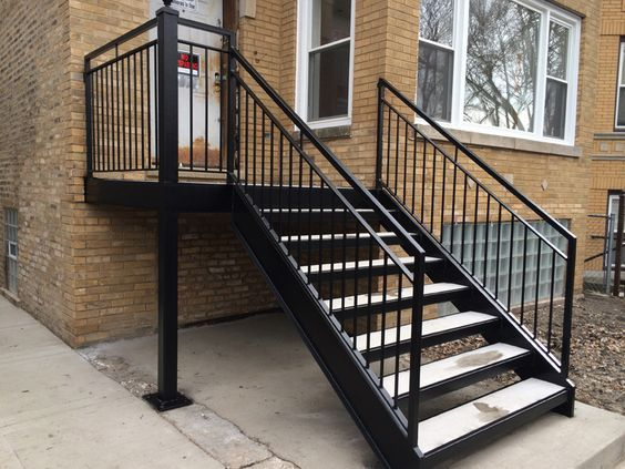 Wrought Iron Outdoor Stair Railings Black Metal Outside | Black Outdoor Stair Railing | Interior Stair | Modern | Pipe | Composite Deck | 2 Step