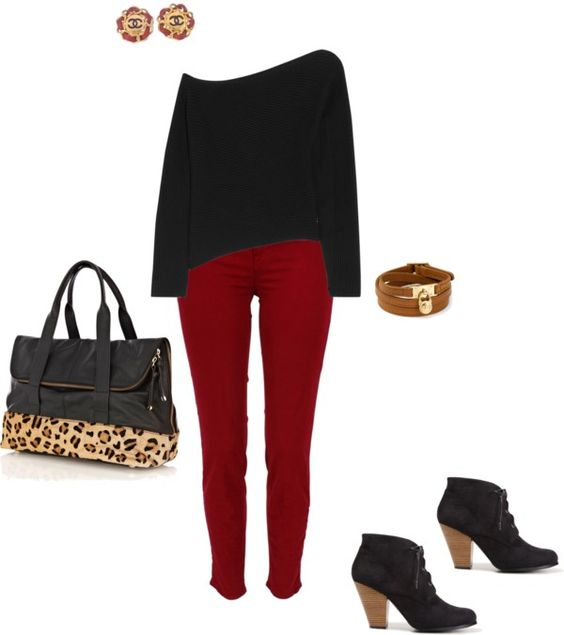 """""""Red pants for fall"""" by fashioncoach on Polyvore"""
