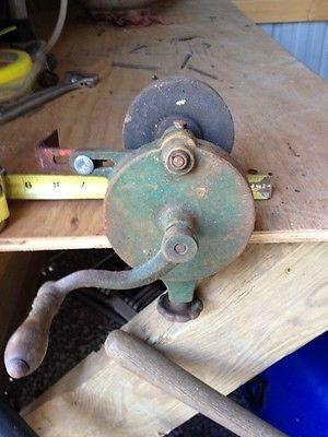 Antique Bench Mounted Hand Crank Grinder Vintage Sharpener