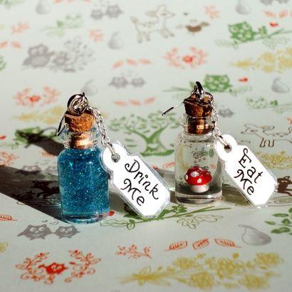 Alice in Wonderland - Eat Me and Drink Me Bottle Earrings - Sterling Silver | redditgifts