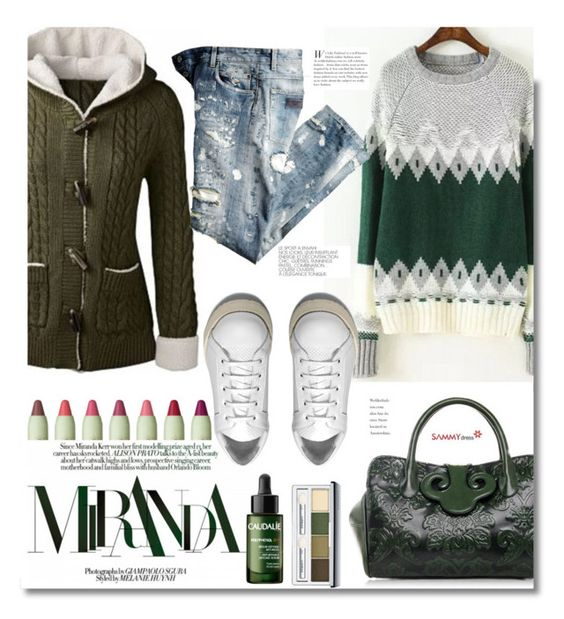 """""""SAMMYDRESS.COM: Miranda"""" by hamaly ❤ liked on Polyvore featuring Pixi, Kerr®, Acne Studios, Caudalíe, Clinique, Sweater, ootd, cardigan, bags and sammydress"""